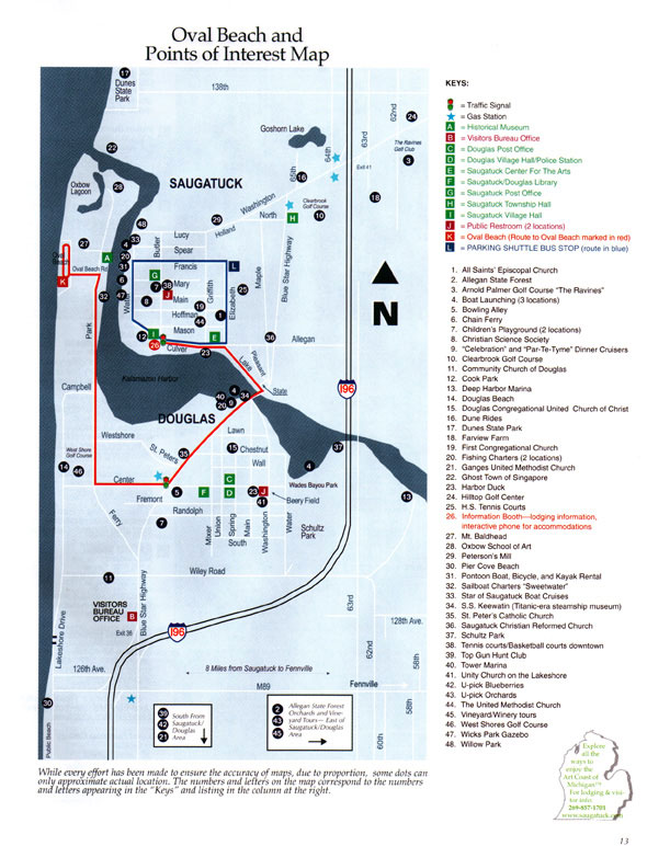 Saugatuck Douglas Michigan Area Map